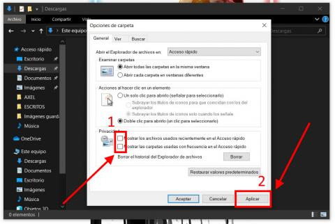 Cómo ocultar los archivos recientes en Windows 10