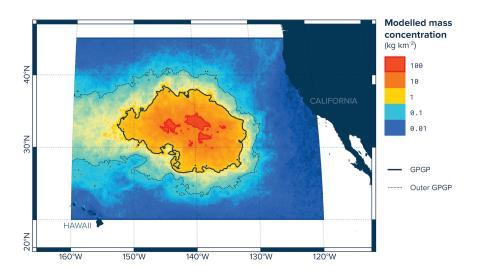 Concentración de residuos en la isla de basura del Océano Pacífico.