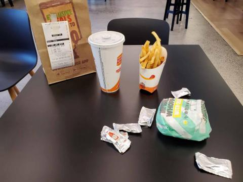 The contents of the Impossible Whopper meal look identical to a regular Whopper meal.