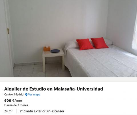 Estudio en alquiler en Malasaña, Madrid