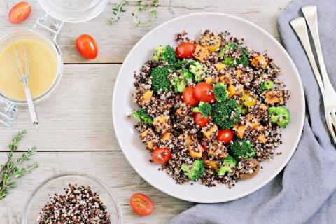 Foods like quinoa and broccoli are good sources of fiber, which keeps the GI tract moving.