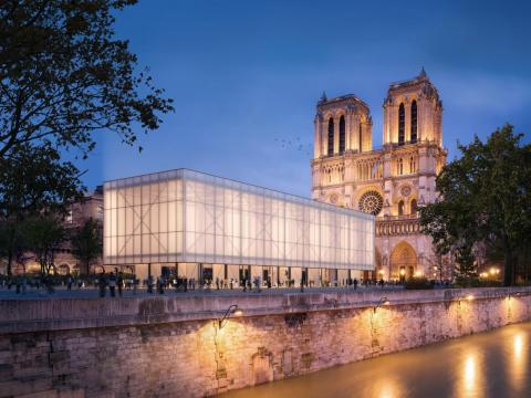 The global architecture firm Gensler has unveiled a concept for a pop-up worship center made of charred timber outside the cathedral.