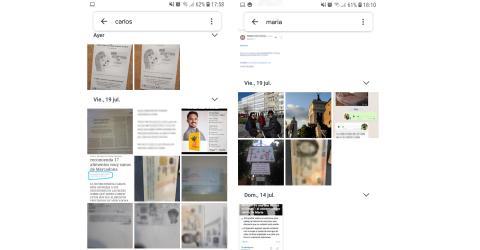 """Estas son las imágenes que Google Fotos me muestra cuando busco """"Carlos"""" y """"María"""" en su buscador."""