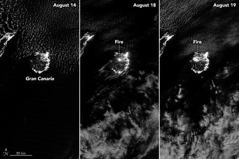 Gran Canaria, fotografiada desde el satélite Aqua de la NASA.
