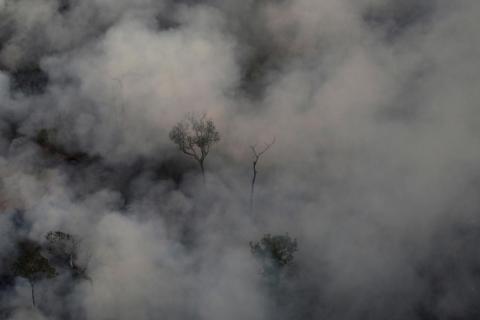 El humo consume el aire sobre un incendio en la selva amazónica cerca de Porto Velho el 21 de agosto de 2019.