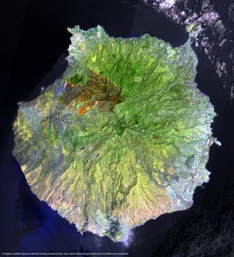 Imagen del incendio en Gran Canaria tomada por el satélite Sentinel-2.