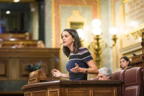 Inés Arrimadas en la tribuna del Congreso.