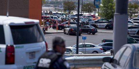 Law enforcement agencies respond to an active shooter at a Wal-Mart near Cielo Vista Mall in El Paso, Texas, Saturday, Aug. 3, 2019.