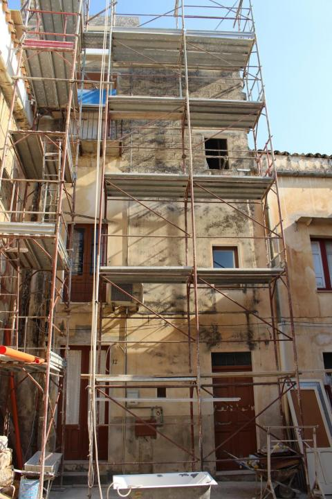 Many of the properties in town were covered in scaffolding.