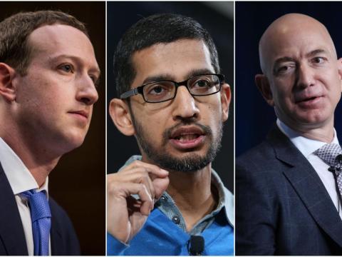Mark Zuckerberg, Sundar Pichai y Jeff Bezos.