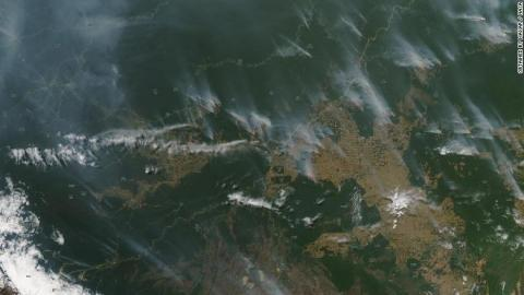 NASA satellites have also spotted the many fires raging in the western Brazilian Amazon.