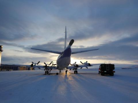 NASA's P-3B airborne laboratory at Thule Air Base in Greenland on March 21, 2013.