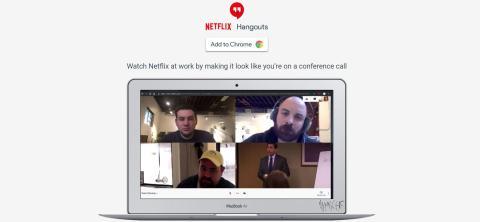 Un pantallazo del aspecto de la extensión Netflix Hangouts para Chrome, con un capítulo de The Office.