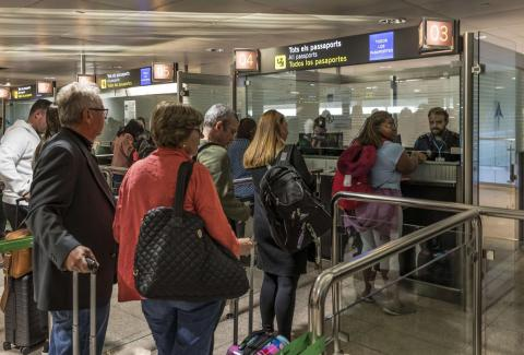 Customs security check at an airport in Barcelona, Spain.