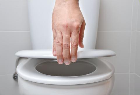 No bajas la tapa para tirar de la cisterna.