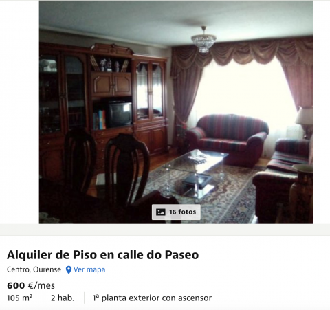 Piso en alquiler en Ourense