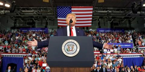 President Donald Trump speaks at a 2020 campaign rally in Greenville, North Carolina, on July 17, 2019.