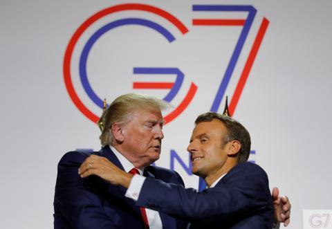 El presidente de Estados Unidos, Donald Trump, y el primer ministro francés Emmanuel Macron.