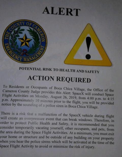 Una nota de seguridad pública enviada a los vecinos de Boca Chica, en Texas, el pasado 24 de agosto.