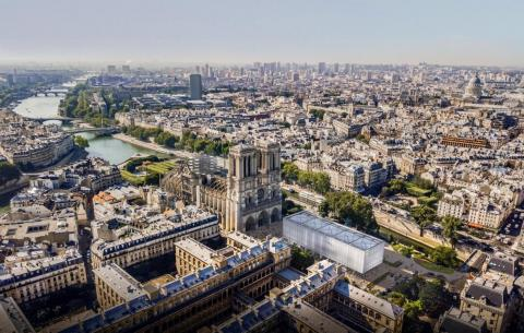 A rendering of the pop-up worship center in front of Notre Dame.