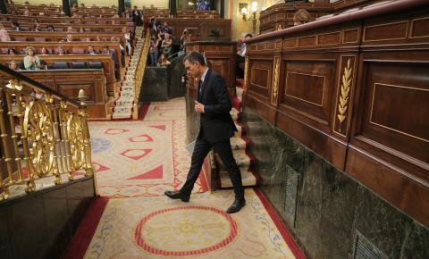 Sánchez, tras comparecer en el Congreso de los Diputados.