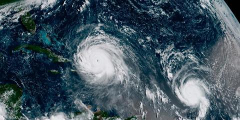 Una imagen de satélite muestra el ojo del huracán Irma, que alcanzó los EEUU en septiembre de 2017.