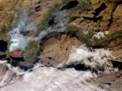 Satellites detected the infrared signal of a wildfire near Sisimiut, Greenland on July 10, 2019.