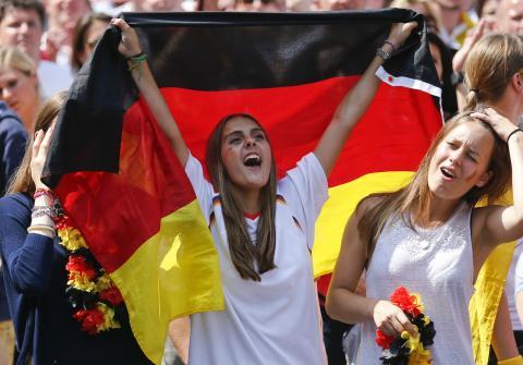 Una seguidora de la selección de Alemania.