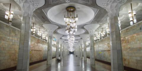 The shimmering interior of the Tashkent subway system.
