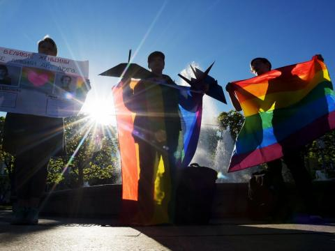 Some ten Gay right activists attend a rally as they mark World Day Against Homophobia and Transophobia in Saint Petersburg on May 17, 2019.
