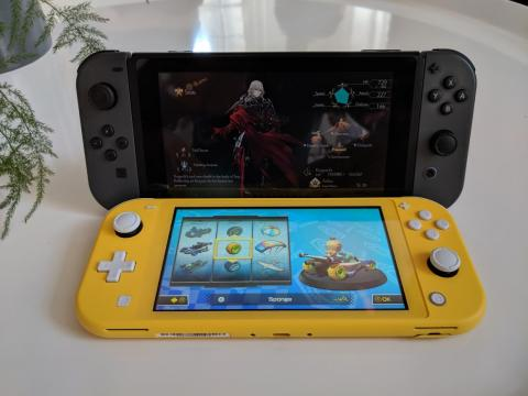 The Switch Lite doesn't have a stand like the original Switch, so it will be tough to play games with a friend or use a different controller.