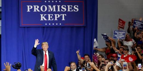 Trump en un mitin el año pasado en el Lewis Center, Ohio.