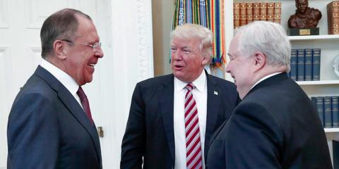 Trump with Russian Foreign Minister Sergey Lavrov and Sergei Kislyak, then Russia's ambassador to the US, at the White House on May 10, 2017.