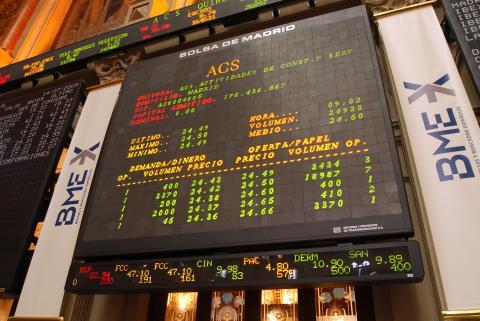 Los valores de ACS cotizando en el IBEX.