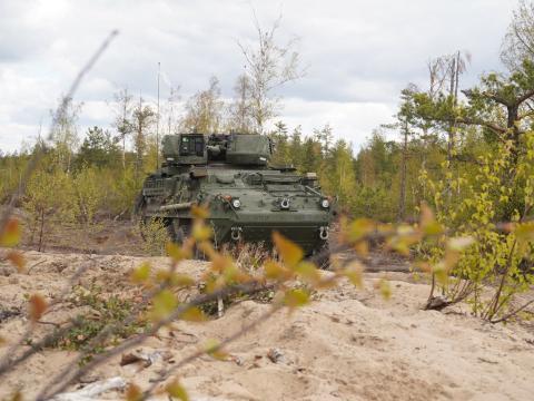 Un vehículo Stryker Dragoon.