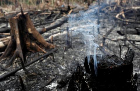 Un tramo de selva amazónica se quema al ser talado por madereros y agricultores en Novo Airao, estado de Amazonas, Brasil, el 21 de agosto de 2019.