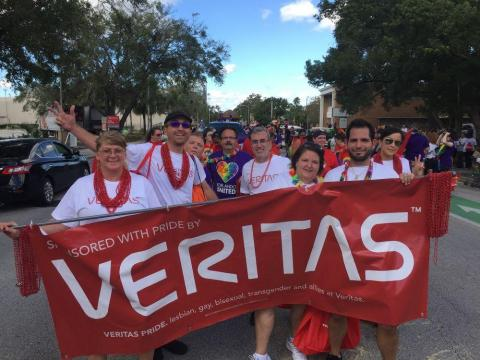 Veritas employees at a Pride parade.