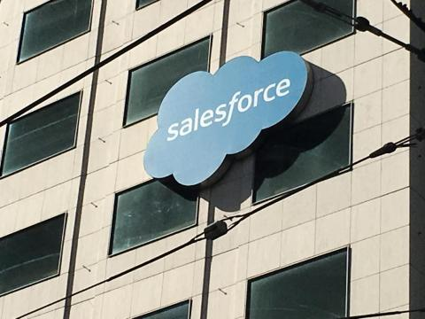 The Salesforce logo is pictured on a building in San Francisco, California, U.S. October 12, 2016.