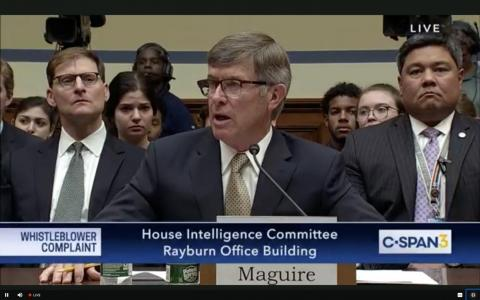 Acting Director of National Intelligence Joseph Maguire testifies before the House Intelligence Committee about the whistleblower complaint on Wednesday.