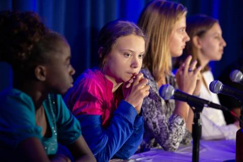 On September 23, 2019, at the UNICEF House in New York, Greta Thunberg announces a collective action being taken on behalf of young people everywhere facing the impacts of the climate crisis.