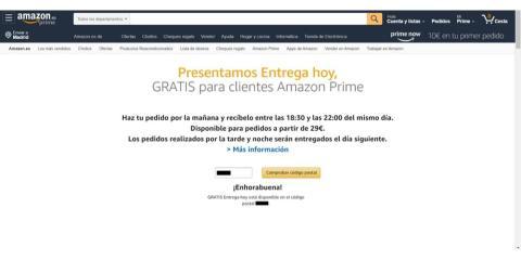 Amazon Entrega Hoy, envío gratuito en el mismo día