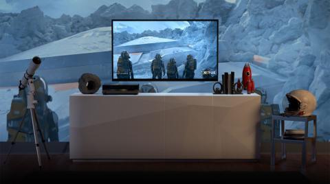 Amazon Fire TV Stick en televisión reproduciendo Netflix