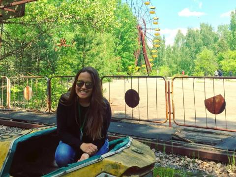 Aguilera en el parque de atracciones de  Pripyat.