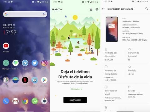 Pantallazos de Android 10 con OxygenOS 10 en OnePlus 7T