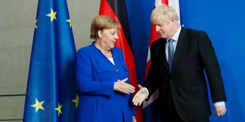 Angela Merkel and Boris Johnson.