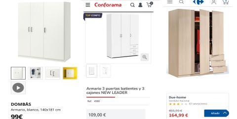 Armarios de Ikea, Conforama y Carrefour