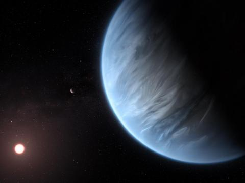 This artist's impression shows the planet K2-18b, its host star, and an accompanying planet in this system. K2-18b is now the only super-Earth exoplanet known to host both water and temperatures that could support life.