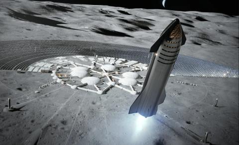 Ilustración de una base en la Luna.