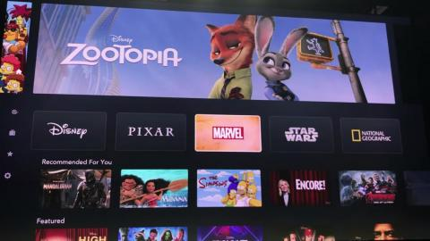 "Below the top carousel of images are the five major categories of Disney Plus: Disney, Pixar, Marvel, ""Star Wars,"" and National Geographic."