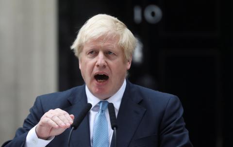 Boris Johnson, durante un discurso en Downing Street